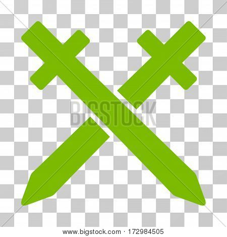 Crossing Swords vector pictograph. Illustration style is flat iconic eco green symbol on a transparent background.