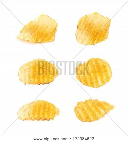 Single potato chip crisp isolated over the white background, set of six different foreshortenings