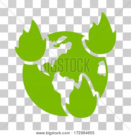 Earth Disasters vector pictograph. Illustration style is flat iconic eco green symbol on a transparent background.