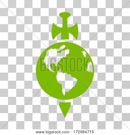 Earth Guard vector pictograph. Illustration style is flat iconic eco green symbol on a transparent background.