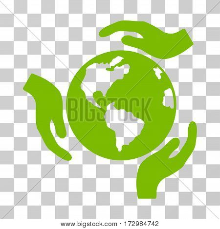 Earth Protection vector pictogram. Illustration style is flat iconic eco green symbol on a transparent background.