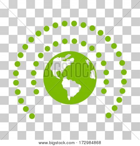 Earth Sphere Shield vector pictograph. Illustration style is flat iconic eco green symbol on a transparent background.