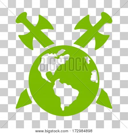 Earth Swords vector icon. Illustration style is flat iconic eco green symbol on a transparent background.