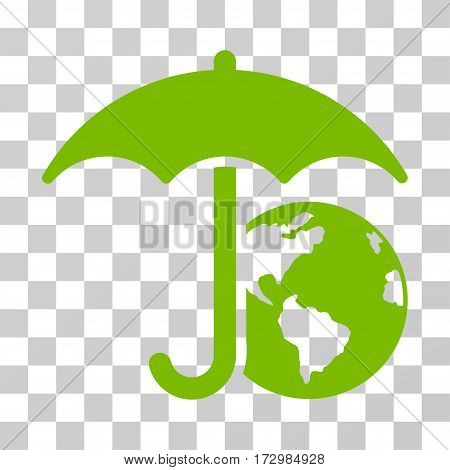 Earth Umbrella vector icon. Illustration style is flat iconic eco green symbol on a transparent background.