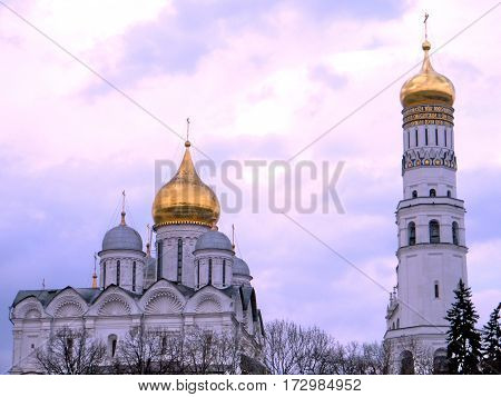 View to Archangel Cathedral and Ivan the Great Bell at evening in Kremlin in Moscow Russia May 3 2011