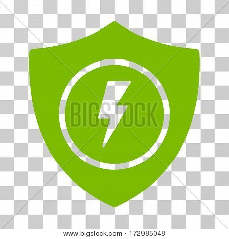 Electric Guard vector pictograph. Illustration style is flat iconic eco green symbol on a transparent background.