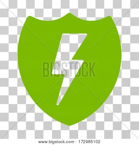 Electric Shield vector pictogram. Illustration style is flat iconic eco green symbol on a transparent background.