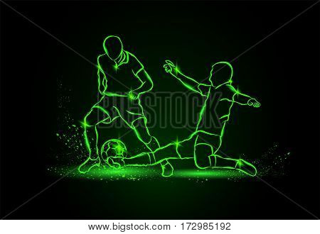 Football. fight for the ball. tackle. Vector neon illustration.