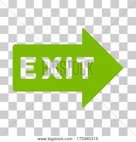 Exit Arrow vector pictogram. Illustration style is flat iconic eco green symbol on a transparent background.