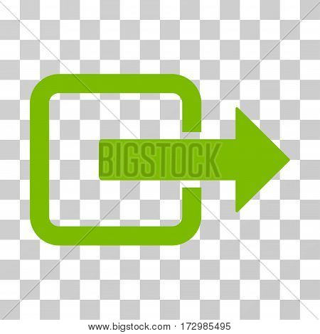 Exit Door vector pictogram. Illustration style is flat iconic eco green symbol on a transparent background.