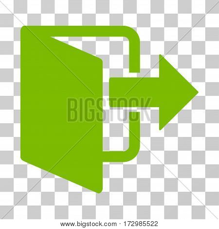 Exit Door vector icon. Illustration style is flat iconic eco green symbol on a transparent background.