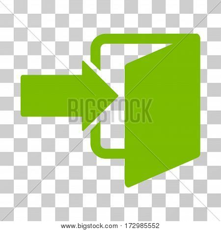 Exit Door vector pictograph. Illustration style is flat iconic eco green symbol on a transparent background.