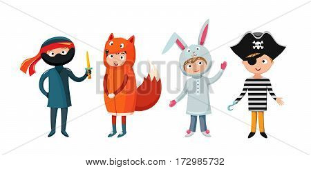 Kids different costumes isolated vector illustration. Playful character spooky baby superhero ninja, rabbit and fox, pirate. Children party funny clothes.