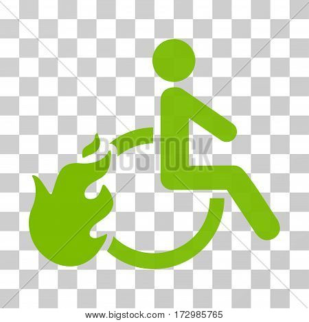 Fired Disabled Person vector pictogram. Illustration style is flat iconic eco green symbol on a transparent background.