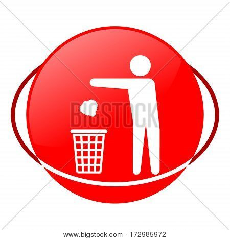 Red icon, man throwing garbage into trash vector illustration