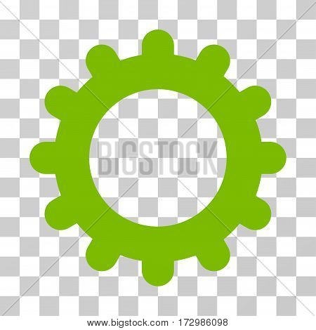 Gear vector pictogram. Illustration style is flat iconic eco green symbol on a transparent background.