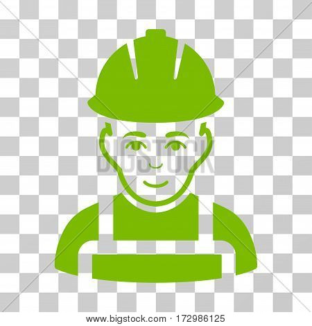 Glad Worker vector icon. Illustration style is flat iconic eco green symbol on a transparent background.