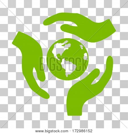 Global Care vector icon. Illustration style is flat iconic eco green symbol on a transparent background.