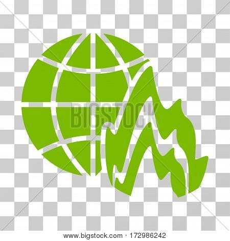 Global Fire vector pictogram. Illustration style is flat iconic eco green symbol on a transparent background.