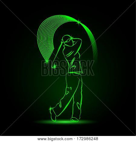 Golf player with a stick. Vector neon illustration.
