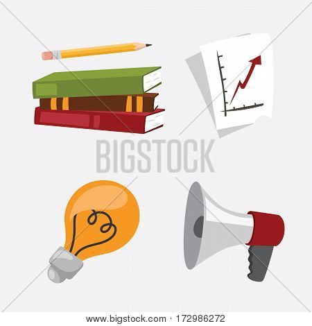business stress isolated vector illustration office life concept bullhorn meeting report lamp idea calculator book notebook graph diagram school education information notepad schedule plan