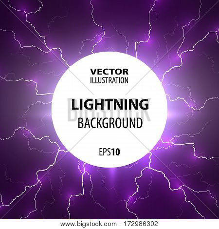 Lightning background. Flashes of lightning from the center of the circle. Vector illustration.
