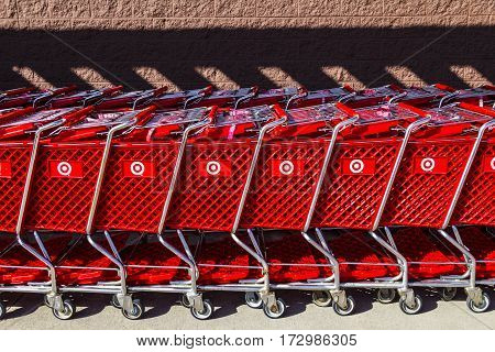 Indianapolis - Circa February 2017: Target Retail Store Baskets. Target Sells Home Goods Clothing and Electronics XI