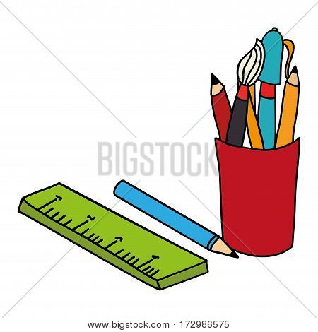 school supplies drawing icon vector illustration design