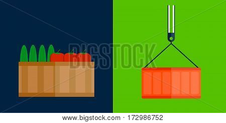 Shipping transportation moving fruits box vector illustration. Delivery transportation object storage package gift. Carton pack post moving relocation unfurnished.