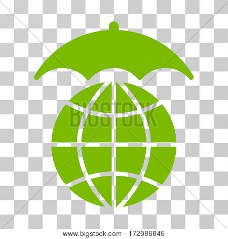 Global Umbrella vector icon. Illustration style is flat iconic eco green symbol on a transparent background.