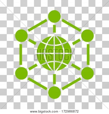 Global Web vector pictograph. Illustration style is flat iconic eco green symbol on a transparent background.