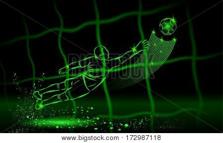 Goalkeeper try to catch the ball. rear view through the net. Vector neon illustration.