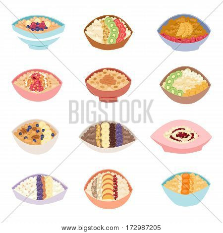 Cartoon healthy oatmeal porridge in bowls with different organic fillings and traditional vegetarian diet oat morning cereal meal vector illustration. Fresh lunch plate eating ingredient.