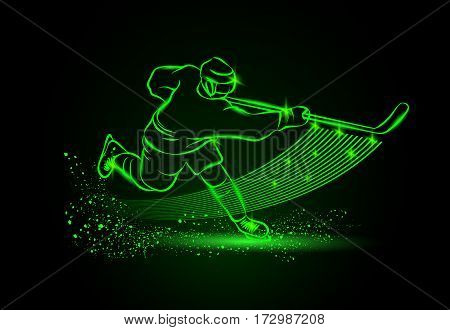 Hockey player, sport background. Vector neon illustration.