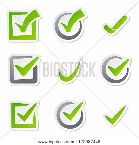 Check box icons of vote mark sign choice yes symbol and correct design right agreement voting form button question choose success graphic vector illustration. Approved positive ui option decision.