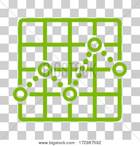 Line Plot vector pictogram. Illustration style is flat iconic eco green symbol on a transparent background.