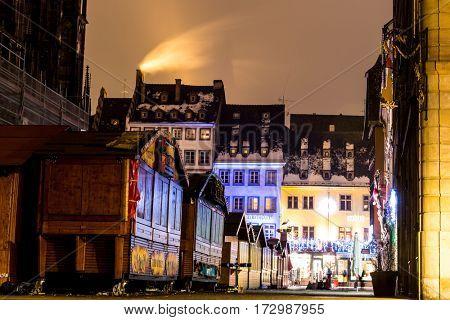 STRASBOURG, FRANCE - DECEMBER 2016: Christmas Market in Strasbourg, France