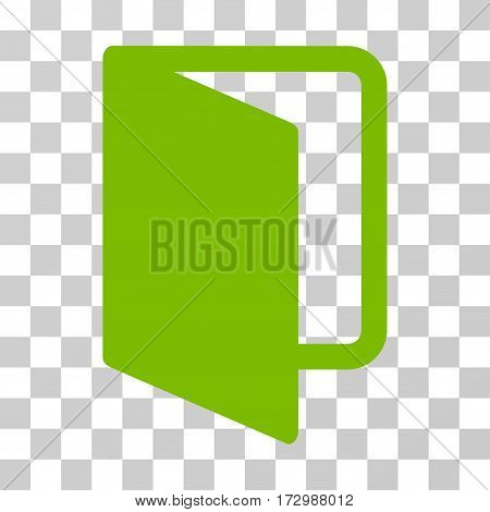 Open Door vector icon. Illustration style is flat iconic eco green symbol on a transparent background.
