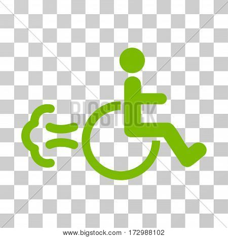 Patient Movement vector pictograph. Illustration style is flat iconic eco green symbol on a transparent background.