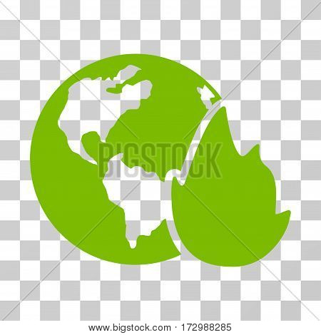 Planet Flame vector icon. Illustration style is flat iconic eco green symbol on a transparent background.