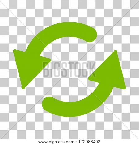 Refresh CCW vector pictograph. Illustration style is flat iconic eco green symbol on a transparent background.