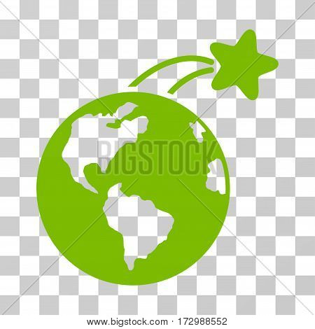 Rising Satellite On Earth vector pictograph. Illustration style is flat iconic eco green symbol on a transparent background.