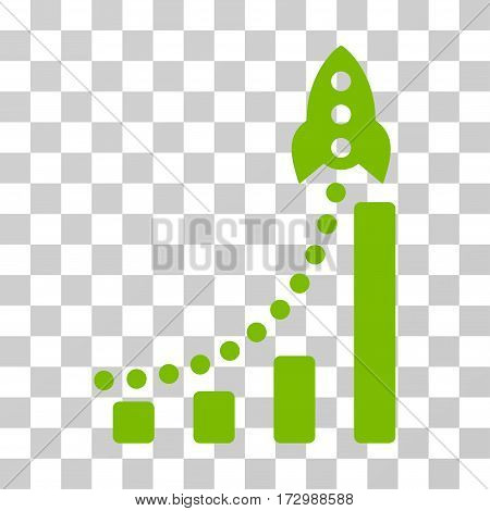 Rocket Success Bar Chart vector icon. Illustration style is flat iconic eco green symbol on a transparent background.