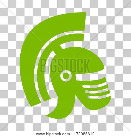 Rome Helmet vector pictogram. Illustration style is flat iconic eco green symbol on a transparent background.
