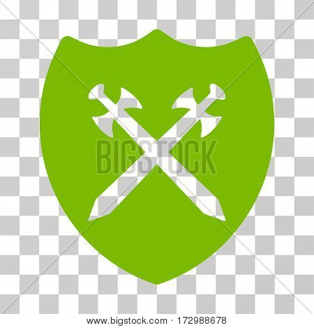 Security Shield vector pictogram. Illustration style is flat iconic eco green symbol on a transparent background.