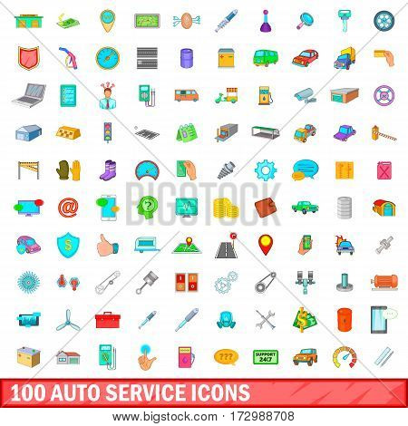100 auto service icons set in cartoon style for any design vector illustration