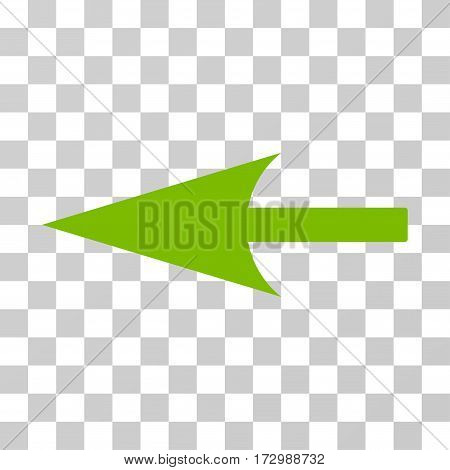 Sharp Left Arrow vector icon. Illustration style is flat iconic eco green symbol on a transparent background.