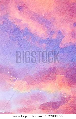 Abstract digital watercolour of pink, purple and blue background