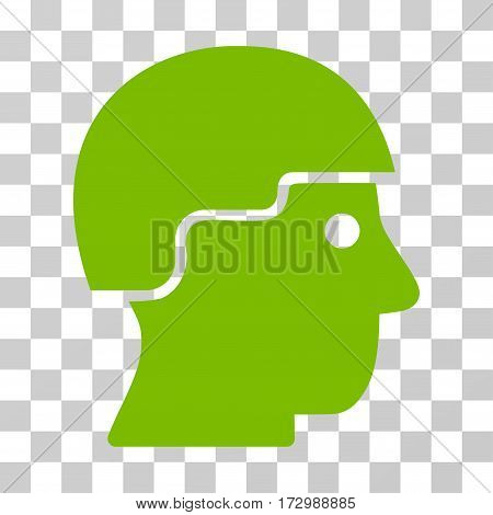 Soldier Helmet vector icon. Illustration style is flat iconic eco green symbol on a transparent background.