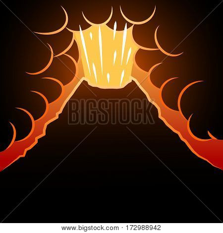 Volcano background. The eruption of the volcano in the background for an inscription. Vector illustration.